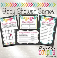 Baby Shower Games and Decorations. Baby by FlyingColorsDesigns