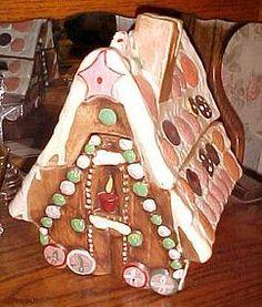 LARGE Vintage gingerbread house cookie jar hand painted ceramic
