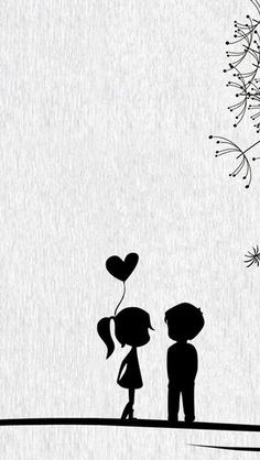 Black Cartoon Wallpaper Source by Love Cartoon Couple, Cute Love Cartoons, Cute Couple Art, Cute Couples, Painting Love Couple, Iphone 5s Wallpaper, Iphone 4s, Wallpaper Art, Cellphone Wallpaper