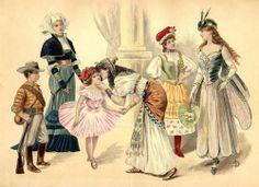 Victorian Fancy dress. Cowboy, 16th Century German lady, Ballerina, Egyptian, Some sort of European folk dress, and Dragonfly