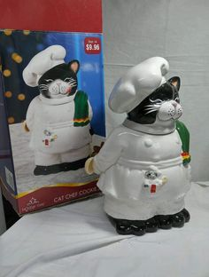 By Holiday Time Large Ceramic Cookie Jar Fat Cat Chef w/ Mouse in unused in box  #HolidayTime