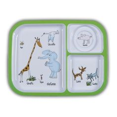 Picnic Zoo Animali Divided Tray.  Heavy duty Melamine  with Italian pattern and perfect for kids!