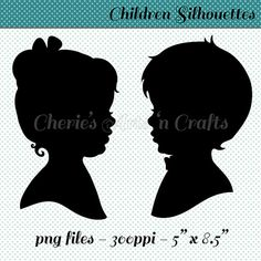 Children's Silhouettes Girl With Bow by CheriesArtsnCrafts on Etsy, $7.50