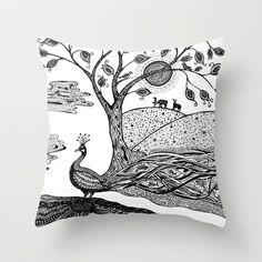 Peacock Fantasy Throw Pillow by Paula Belle Flores - $20.00