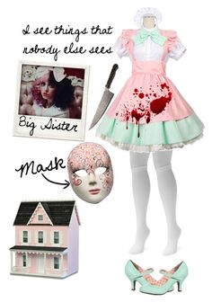 """""""Creepypasta Oc #2 Doll Face"""" by pastelgothprincess27 ❤ liked on Polyvore featuring Muk Luks, Dollhouse and Polaroid"""