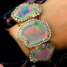 And my #opalobsession continues! Is this 30 Carat water opal by Kimberly McDonald too over the top for daytime, nope, didn't think so. #armparty #statementjewelry #opal #diamonds #gem @kimberlymcdonaldjewelry
