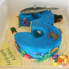 Number 3 ocean themed birthday cake www.classiccakes.com.au