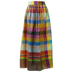 Preowned 1980s Plaid Silk Pleateds Skirt ($130) ❤ liked on Polyvore featuring skirts, brown, vintage skirts, silk skirt, silk pleated skirt, vintage plaid skirt and brown pleated skirt