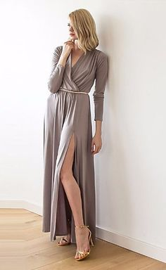 Maxi Taupe dress with slit, Taupe formal maxi dress with long sleeves, Bridesmaids taupe dress, Maxi dress with long sleeves