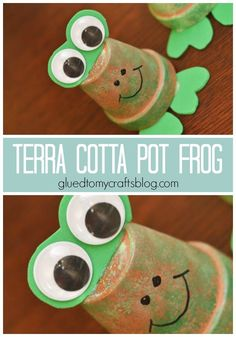 Terra Cotta Pot Frogs Craft is part of Terra Cotta Pot Frogs Craft Glued To My Crafts - Terra Cotta Pot Frogs Kid Craft Tutorial your child's finished pieces can sit nicely on a shelf or desk & won't cause any anxiety for those who hate frogs Summer Crafts For Kids, Spring Crafts, Art For Kids, 4 Kids, Frog Crafts, Glue Crafts, Kid Crafts, Craft Kids, Bunny Crafts