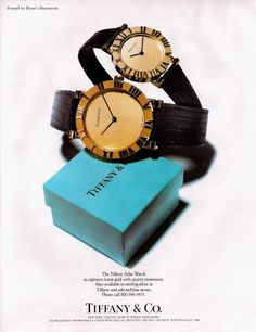 Very cool watches by Tiffany & Co, 1989.