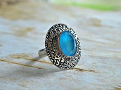 Your place to buy and sell all things handmade Blue Gemstones, Blue Chalcedony, Blue Rings, Copper Color, Cocktail Rings, Aqua Blue, Gemstone Jewelry, Fashion Jewelry, Sterling Silver