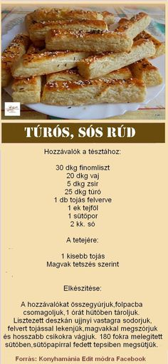 #rúd #sós #Túrós Nutella, Bakery, Food And Drink, Sweets, Healthy Recipes, Snacks, Cooking, Ethnic Recipes, Rum
