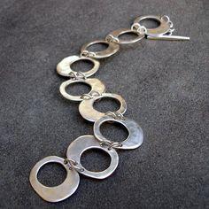 Sterling Silver Bracelet  Hammered Silver Link by lsueszabo #SterlingSilverBracelets #SterlingSilverBraceletsjewellery
