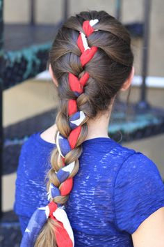 A Great 4th of July style or use a different scarf for an everyday look! #cghscarfbraid #hairstyles #hairstyle #4thofjulyhair #braids #cutegirlshairstyles
