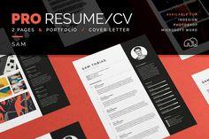 Professional Resume/CV | Cover Letter | Portfolio | Resume CV Template + Cover Letter Design for Word | Photoshop | inDesign | Instant Digital Download | Sam by bilmaw creative on @creativemarket