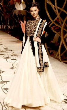 Rohit Bal black and white moghul-like anarkali with a skirt Indian Bridal Fashion Week, 2013