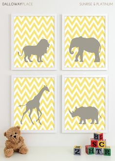 Safari Nursery Art, Zoo Nursery Print Animal Nursery Wall Art, Jungle Baby Nursery Decor Kids Art For Children Playroom - Four 8x10 via Etsy