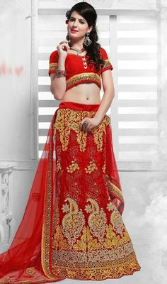 Interest oceans of attention adorned in this red color satin and net embroidered lehenga cholie. This stunning choli is showing some terrific embroidery done with lace and resham work.  #redembroideredcholis #alinecutlehangacholi #partywearlehegas