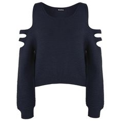 Aniya Knitted Off Shoulder Jumper (£19) ❤ liked on Polyvore featuring tops, sweaters, cut out crop top, open shoulder sweater, cropped tops, off the shoulder sweater and cut out shoulder sweater