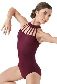 This unique leotard with a strappy design in front is perfect for class or auditions.