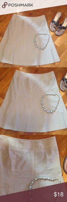 Talbots Petites skirt Talbots petites skirt striped A line skirt in white and dark grey. Hidden side zipper.  100% cotton.  Dry clean filly lined. Nice wide waistband Talbots Skirts A-Line or Full