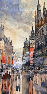 Buchanan Street Glasgow by Iain Stewart Watercolor ~ x my family name, at least the ones from Scotland! Watercolor Architecture, Watercolor Landscape, Cityscape Art, City Scene, Foto Art, Watercolor Artists, Urban Sketching, Urban Art, Sketches