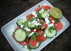 Watermelon, cucumber and feta salad - CookTogether Feta Salad, Caprese Salad, Hot Days, Avocado Toast, Cucumber, Watermelon, Lime, Breakfast, Recipes