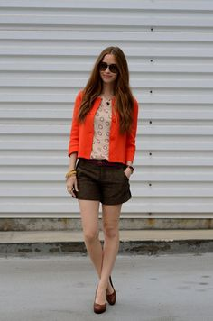 M Loves M short stuff (top c/o Tulle, jacket J.Crew, shorts Sanctuary via Nordstrom Rack, shoes Jessica Simpson, necklace handmade by me, sunglasses Persol) #prefall