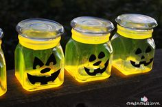 These Glow Stick Pumpkin Jars will be the talk of the neighborhood on Halloween night! via createcraftlove.com for The 36th Avenue #glowsti...