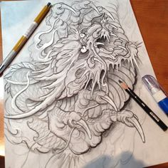 Yet another awesome sketch by Aaron Bell. US Tattoo Scene. #tattoo #tattoos #ink