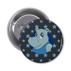 Cute hippopotamus cartoon pinback button