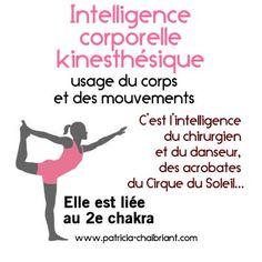 intelligences multiples, définition de l'intelligence corporelle kinesthésique liée au 2e chakra Qi Gong, Positive Attitude, Positive Vibes, Ayurveda, L Intelligence, Traditional Chinese Medicine, Acupressure, Reiki, Yoga Fitness