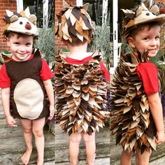 A hedgehog costume that I made for my son. Mostly made up as I went along!The spikes are diamonds of felt sewn in lines on a fleece vest. The hat is a normal baseball cap,felt and a lot of hot glue!