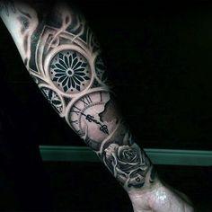 Amazing Inner Forearm Rose Flower Clock Tattoo For Guys