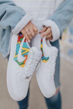 Custom Vans Shoes, Custom Painted Shoes, Dr Shoes, Hype Shoes, Air Force One Shoes, Nike Air Force Ones, White Nike Shoes, Nike Air Shoes, Nike Af1