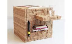 """自由自在に形を変える""""ジェンガ""""のようなキューブ型テーブル"""