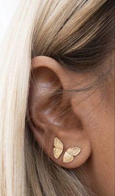 Piercings Bonitos, Ear Jewelry, Cute Jewelry, Jewelery, Jewellery Earrings, Jewellery Making, Ring Earrings, Necklace Set, Pretty Ear Piercings
