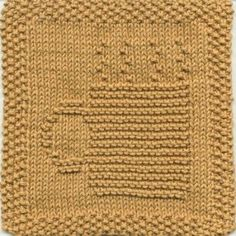 Steaming Mug Knit Dishcloth Pattern Cozy up with a warm mug of your favorite drink! This knit dishcloth design is a solid picture of a mug with steam rising from it. The handle of the mug is toward the left. Knitting Blocking, Knitting Squares, Dishcloth Knitting Patterns, Crochet Dishcloths, Circular Knitting Needles, Knit Or Crochet, Loom Knitting, Knit Patterns, Hand Knitting