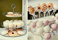Darling pies on sticks... love the cutouts in the crusts- all different.  Cute rock candy style sticks would be precious-- can buy the sticks here:  http://confetticouture.com/cake-pop-kits.html