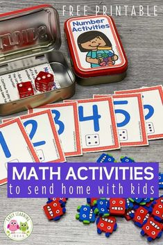 Add these free printable 1-12 number cards, counters, & dice to an Altoids tin or soap container to create fun math activities for your classroom. Perfect for preschool or pre-k, or at home learning. You can use the printables with your kids for a variety of math learning & counting activities. Ideas for learning games and activities are included. Use for your math centers and stations, as a take-home activity, as a screen-free activity at restaurants, or as a student gift. Math Activities For Kids, Learning Games For Kids, Home Learning, Math Games, Preschool Activities, Counting Activities, Number Activities, Early Learning, Games For Little Kids