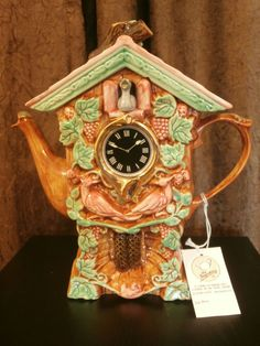 Vintage Swineside Teapottery Cuckoo Clock Collectible Ceramic Teapot England