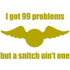 "OMG, lol. MUST make a shirt: ""I got 99 problems, but a snitch ain't one""  --Harry Potter"