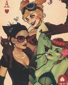 Saturday with ma girls!  #harleyfun #harleyquinn #instaharleyquinn #followharleyquinn #likeharleyquinn #dollface #wildcard #cupcake #dccomics #poisonivy #instapoisonivy #likepoisonivy #followpoisonivy #catwoman #instacatwoman #followcatwoman #likecatwoman #cat #red #gothamsirens #gothamgirls