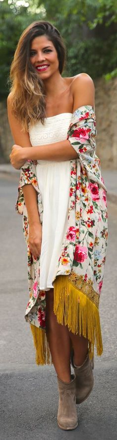 The perfect garden party outfit! White dress + colorful kimono + ankle booties + a lip color that matches the kimono