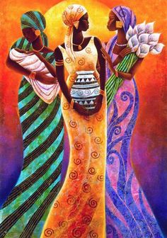 """Sisters of the sun"" by Keith Mallett, 1948, american painter.  African American art."