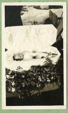 So sad... Snapshot-Post Mortem Baby in Casket-Outdoors 1920s