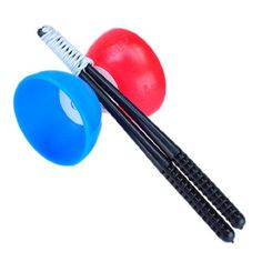 63% Off was $15.99, now is $5.96! New Red with Blue Chinese Yo-Yos Diabolo Juggling Spinning with Hand Stick Classic Toy