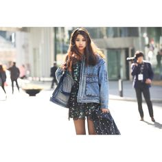 Hbnam of Streetfsn Captures All the Off-Catwalk Action at Seoul Fashion Week  love the denim jacket!