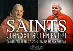 What a day ...2nd Sunday in Easter, Divine Mercy Sunday, and two 2 popes canonized. Praise God! #2popesaints #mycatholictshirt mycatholictshirt.com